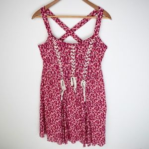 Free People Pink Floral Lace Up Corset Style Dress